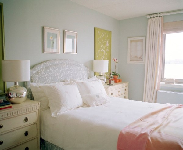 A soothing pastel bedroom