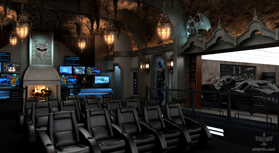 Dark Knight Themed Home Theater Every Mans Batcave Dream