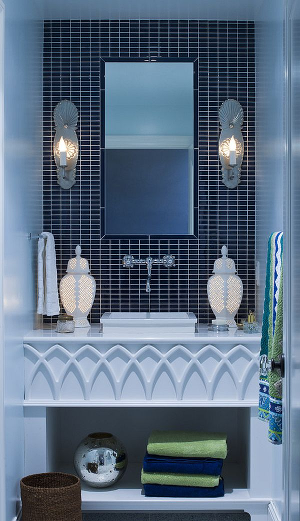 Bathroom vanity design in blue shades decoist for Bathroom designs blue