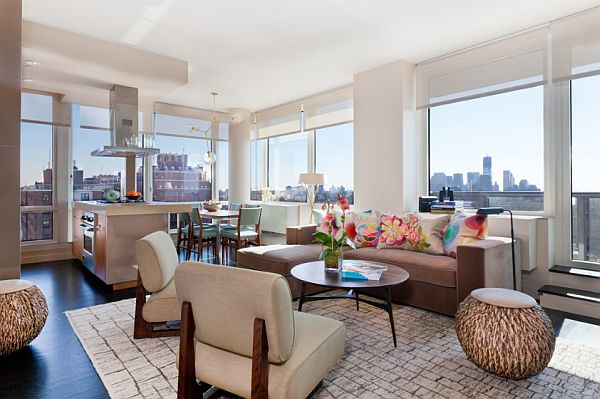 Colorful Manhattan Condo Design Contemporary New York City Condo Stuns With Color and Panoramic Views of Manhattan