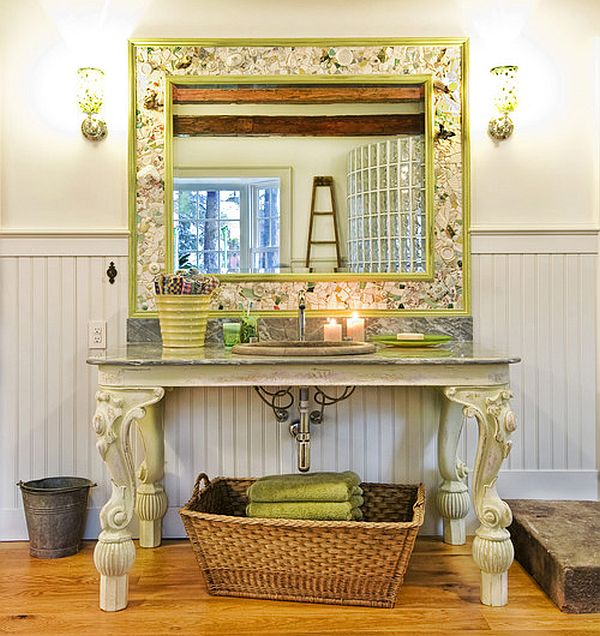 Colorful vanity with a classic English touch