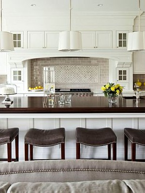 Comfy kitchen stools in white modern kitchen design