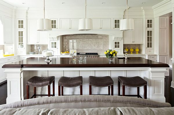 Comfy kitchen stools in white modern kitchen design 3 Basic Home Decor Rules You May Have Forgotten
