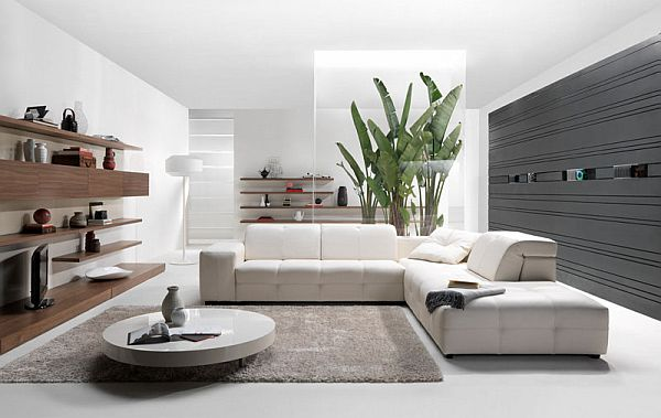 Contemporary living room with a surround music system