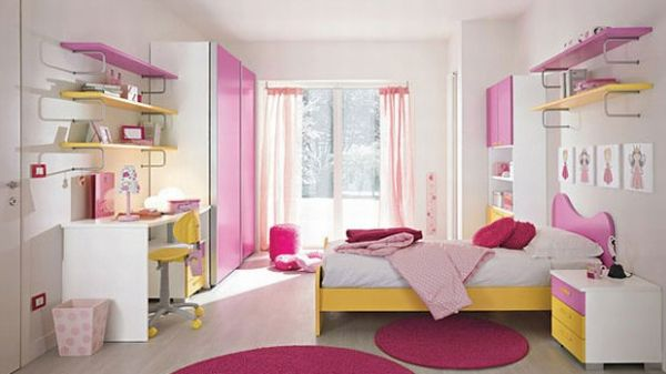 Girls spacious bedroom in sparkling pink
