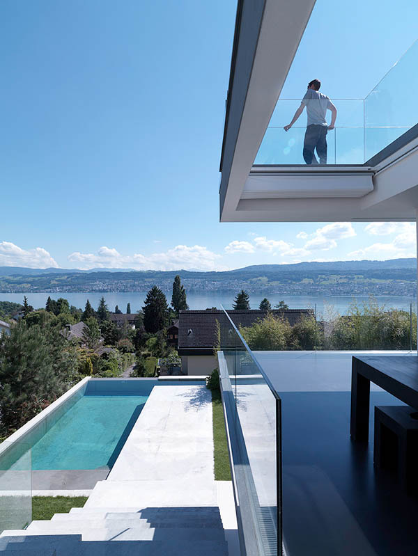 Glass Contemporary Feldbalz House 2 Feldbalz House: Contemporary Glass Home with Brilliant Views of Lake Zurich