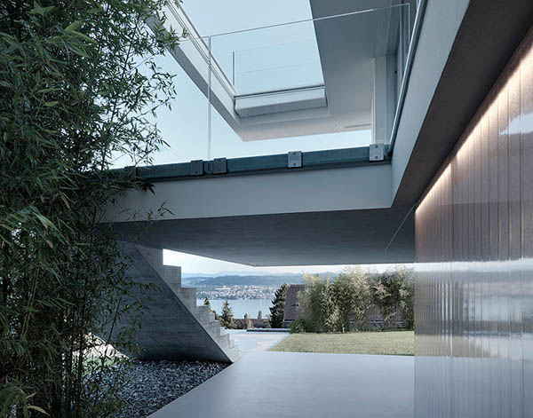 Glass Contemporary Feldbalz House – concrete stairs