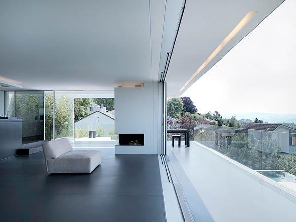 Glass Contemporary Feldbalz House – open space living room