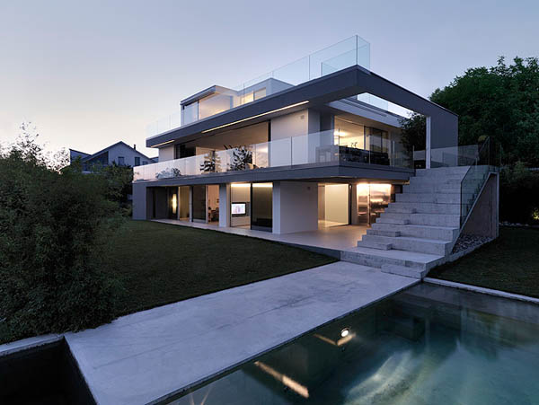 Glass Contemporary Feldbalz House Feldbalz House: Contemporary Glass Home with Brilliant Views of Lake Zurich