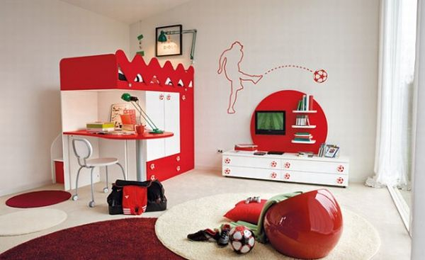 Glossy red interiors with a passion for football