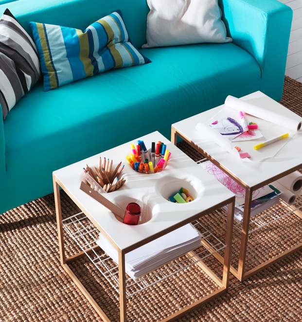 IKEA 2013 Catalog – White living room with turquoise sofa