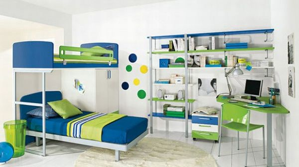 Library bedroom with white template