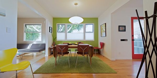 Lime green contrasting wall in the living room