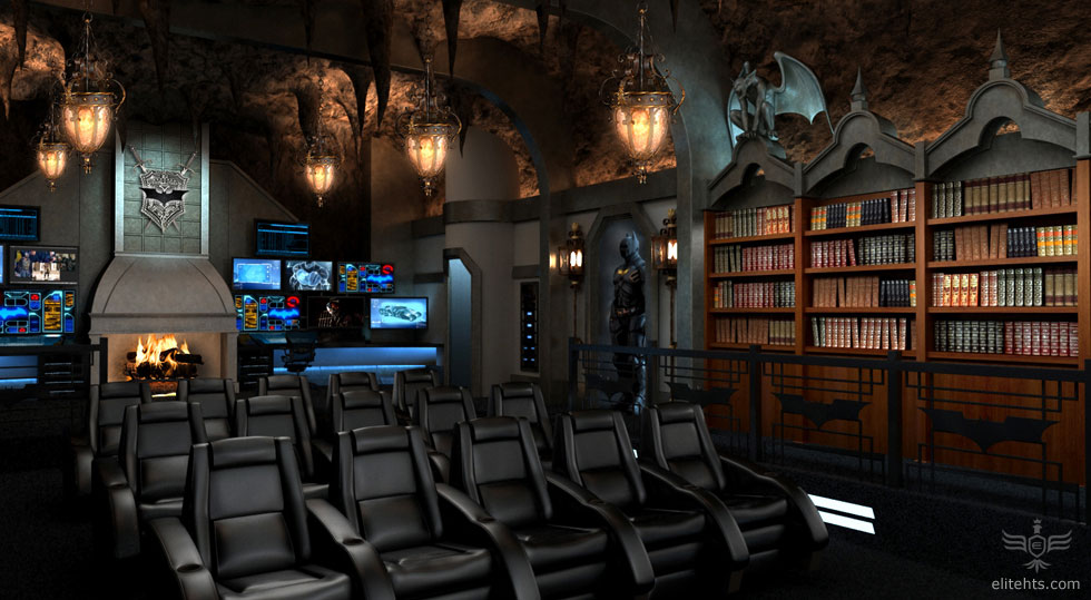 Modern Dark Knight inspired Home Theater Dark Knight Themed Home Theater; Every Mans Batcave Dream Come True