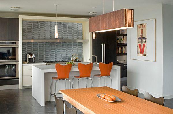 Orange High Stools in a modern Kitchen