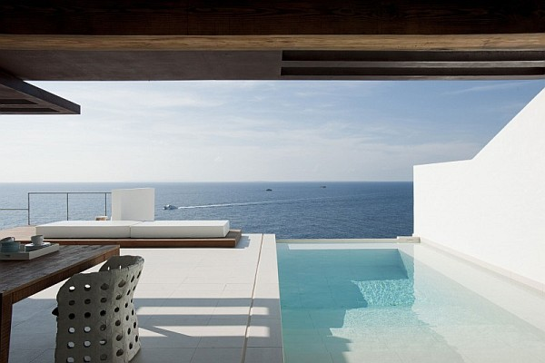 Outdoor patio with stunning sea views