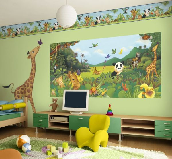 Playful bedroom interiors with jungle theme