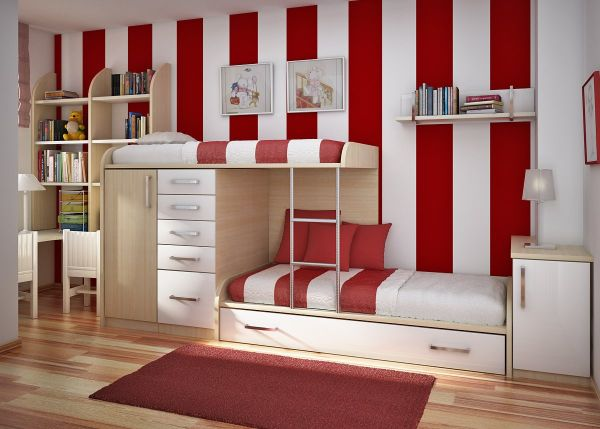 Red and White stripes kids room