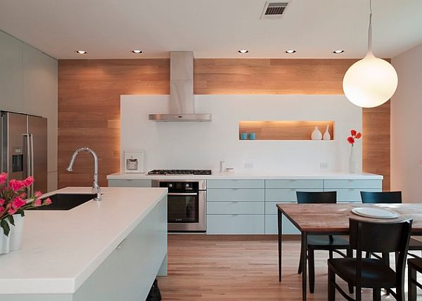Robins Egg blue cabinets in contemporary kitchen