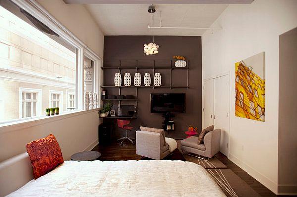 San Francisco urban loft with contrasting  grey wall