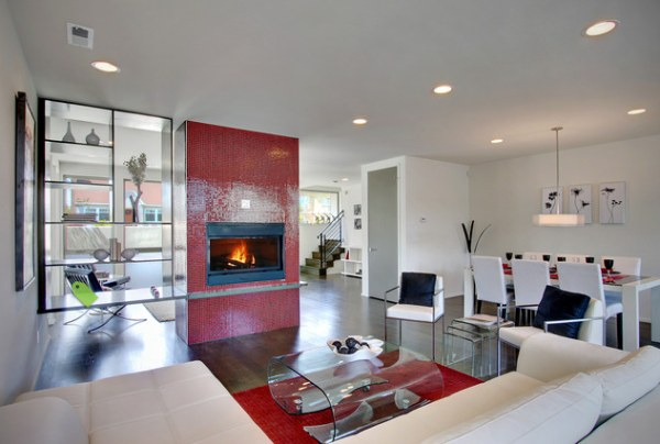 View In Gallery Shelving And A Red Tiled Fireplace Define Living Space