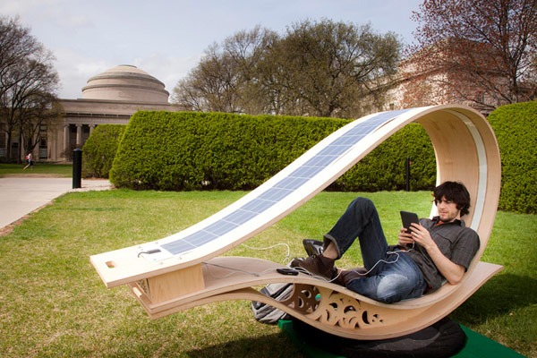 Solar Powered Sun Lounger Made from Wood Solar Powered Lounger Will Charge Gadgets in Glowing Style