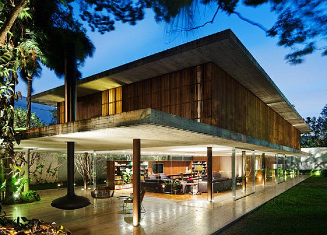 Toblerone House in the Lush Green Landscape of Sao Paulo