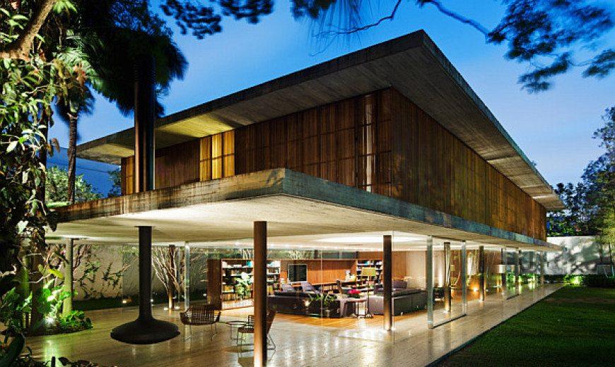 Toblerone House in the Lush Green Landscape of Sao Paulo