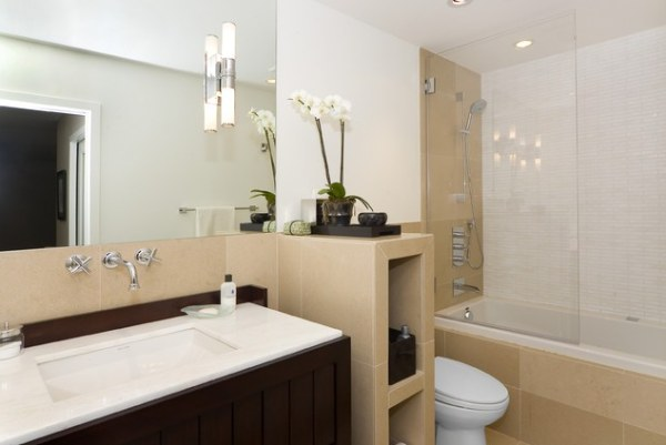 a modern bathroom with an orchid