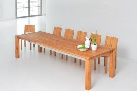 amber extending solid wood table
