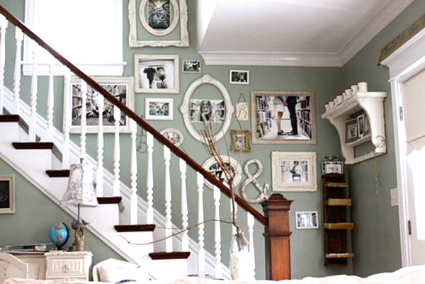 Remodel Ordinary Wall Into Nice Wall Gallery Art: Antique Frame Family Photo Gallery Wall