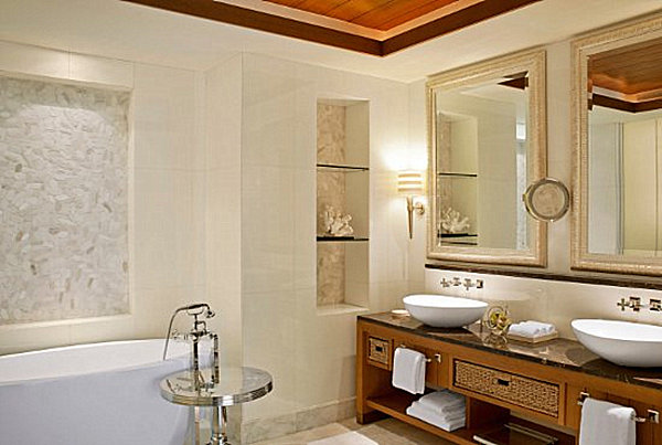 bathroom with coral
