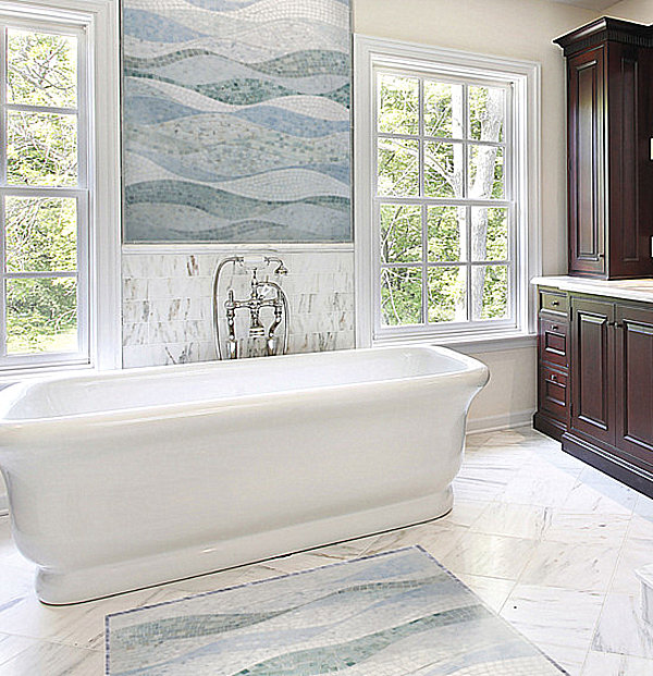 bathroom with ocean mosaic