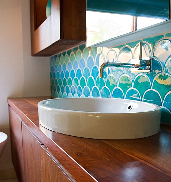 bathroom with ocean wave tile