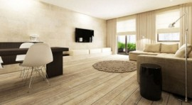 Beautiful natural wood flooring in large living room