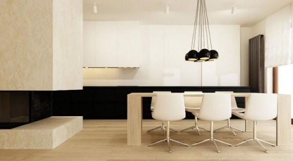 black and contrasting cream modern dining room Neutral Interiors for Cool Contemporary Homes from Katarzyna Kraszewska
