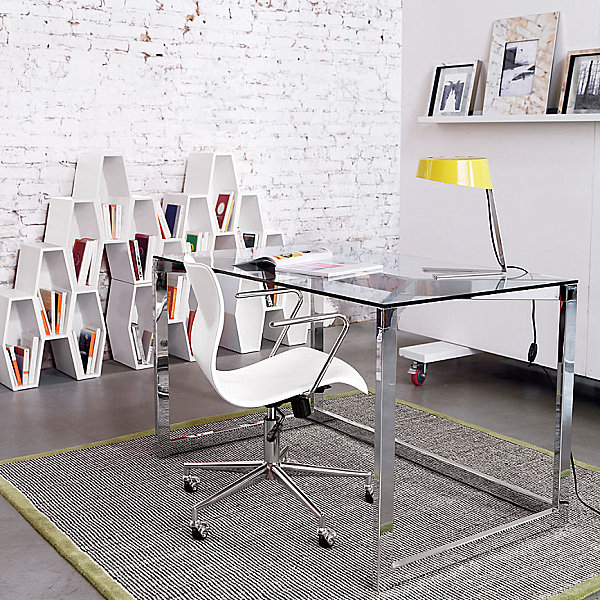 chrome and glass office desk
