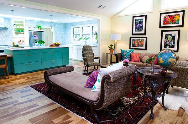 colorful furniture and decor in Austin living room Three Affordable Ways to Add Continual Color in Your Home