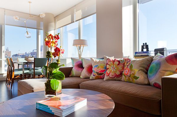 colorful living room in Manhattan condo Contemporary New York City Condo Stuns With Color and Panoramic Views of Manhattan