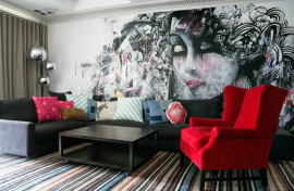 Colorful living room with crazy wallpaper