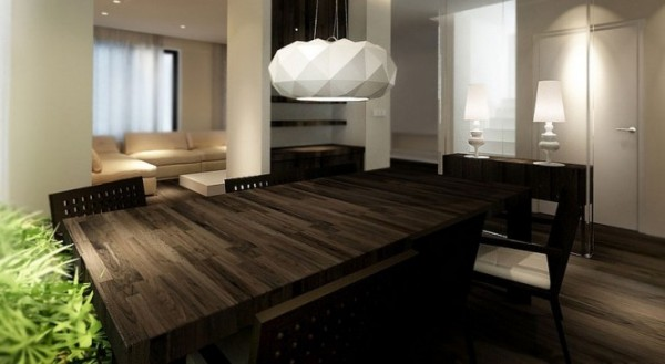 Dark Wooden Table ~ Neutral interiors for cool contemporary homes from