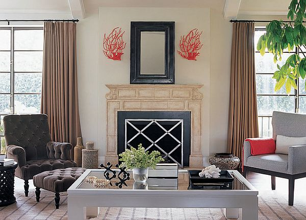 contemporary living decor with coral decoration