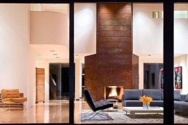 copper wall in modern living room