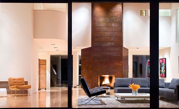 copper wall in modern living room Decorating With Copper: How to Use Copper for Your Home Design
