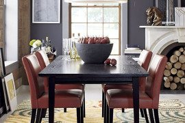 dark wood expandable dining table