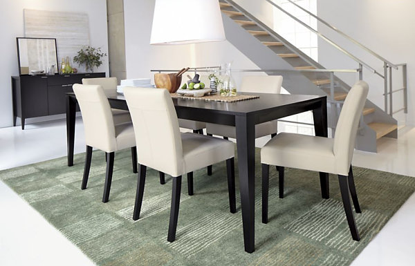 dark wooden expandable dining table