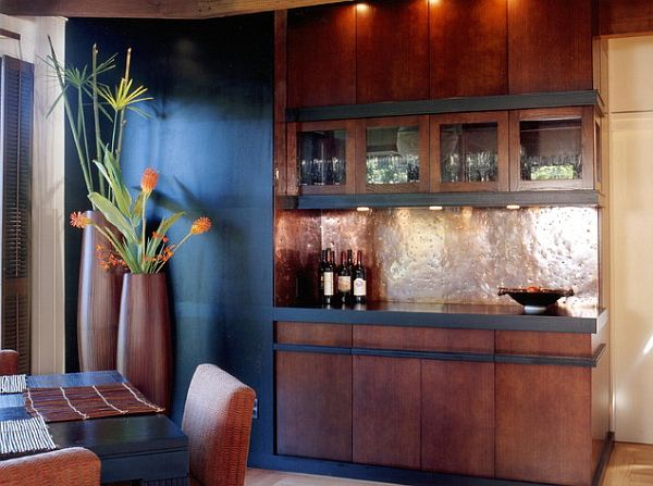 dining room with copper cabinets