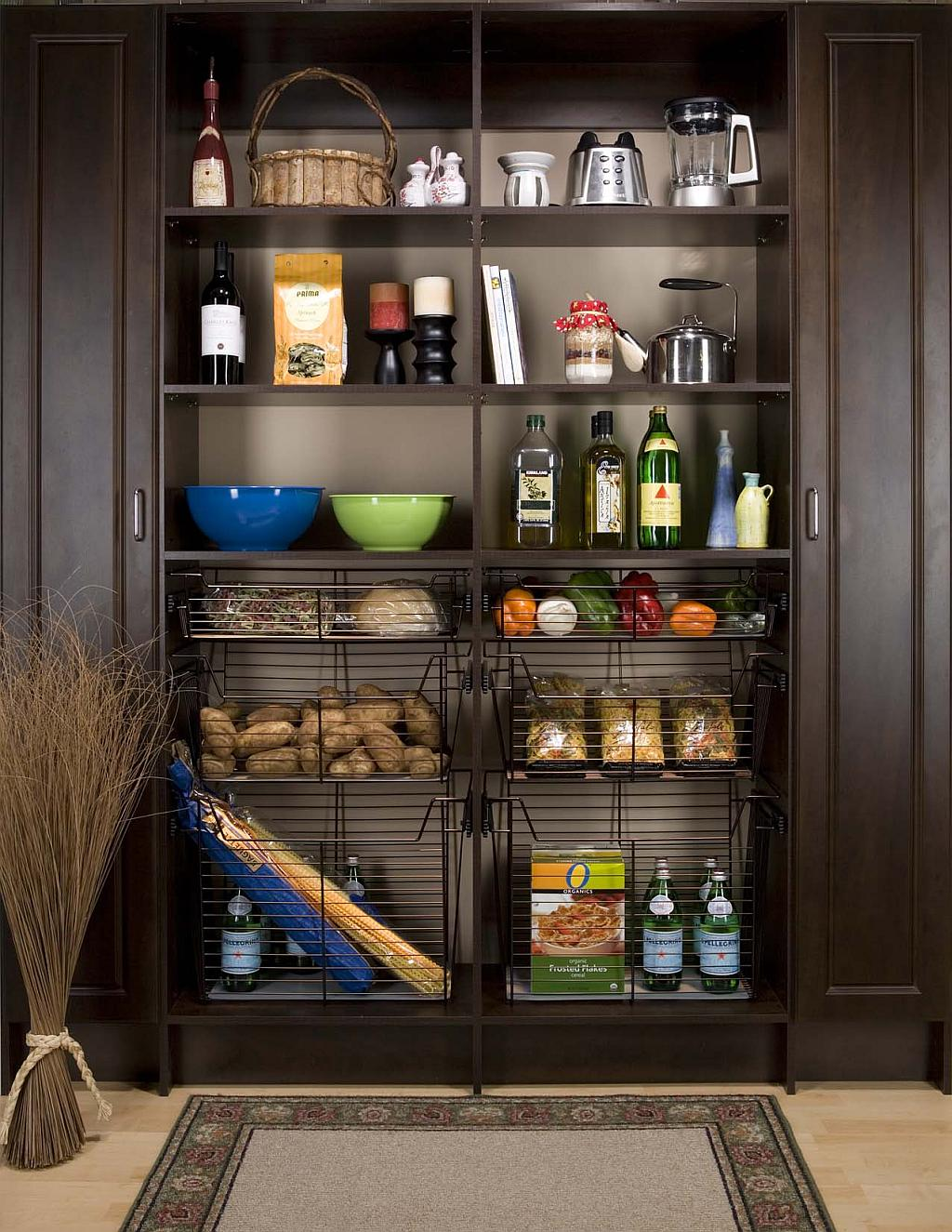 elegant pantry with baskets