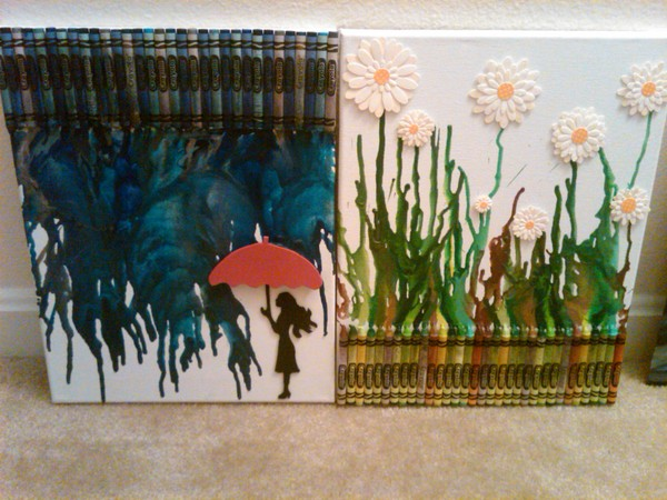 fancy melted crayon artwork