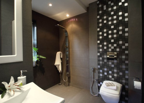 flowers and plants in a modern bathroom